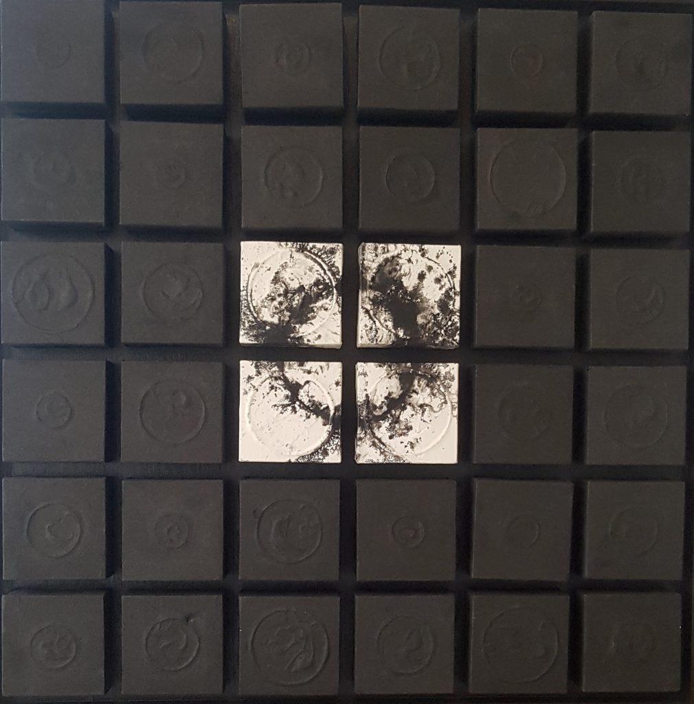 Acrylique, encre de chine, papier de riz et crépi sur bois, 95 x 95 x 7,5 cm