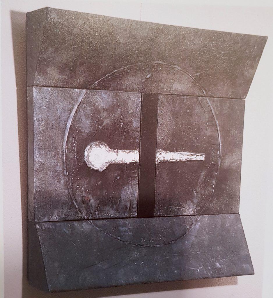 Acrylique, encre de chine, papier de riz et crépi sur bois, 100 x 100 x 17 cm