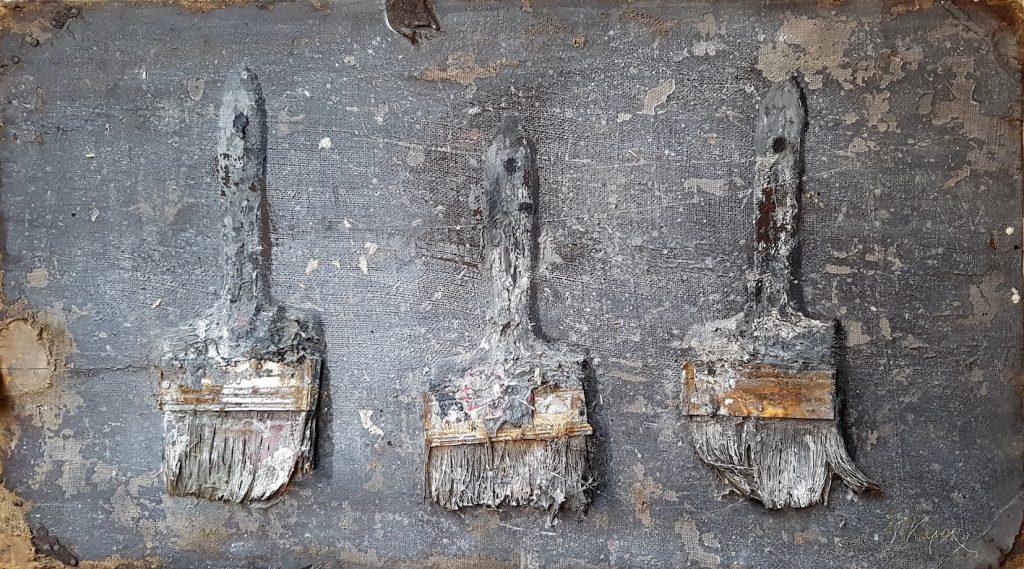 Three brushes, acrylique et brosses sur bois