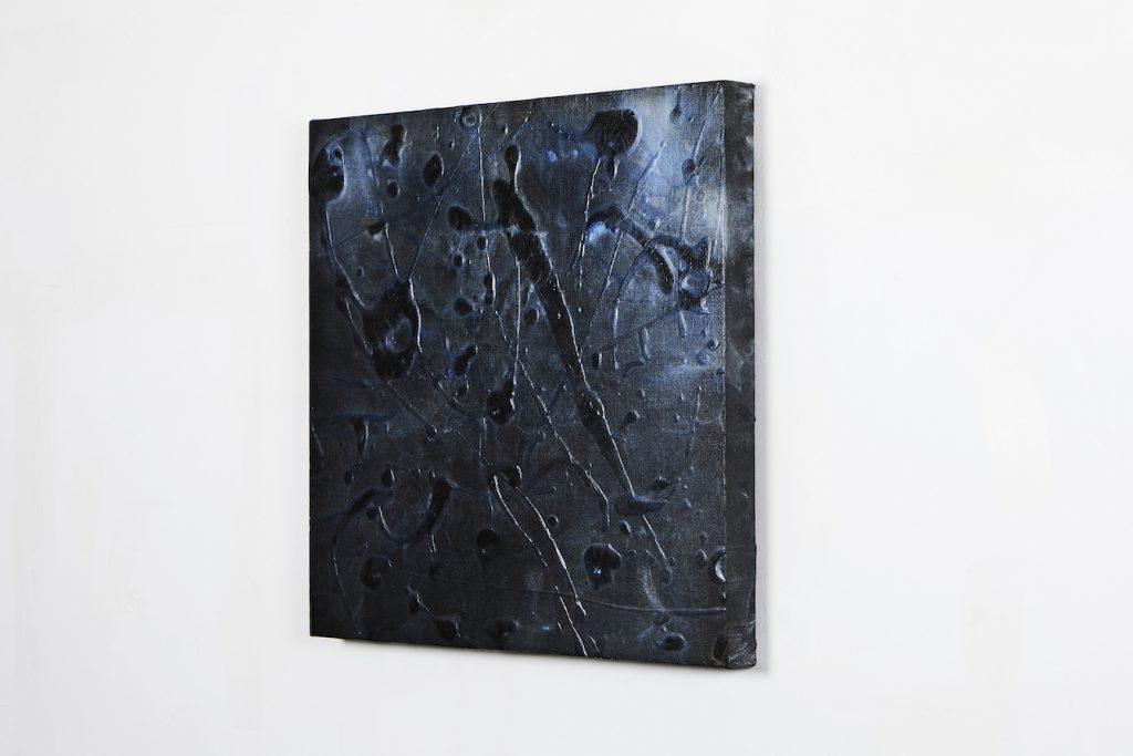 Acrylique, papier de riz encre de Corée crépi sur toile, 45.5 x 45.5 cm