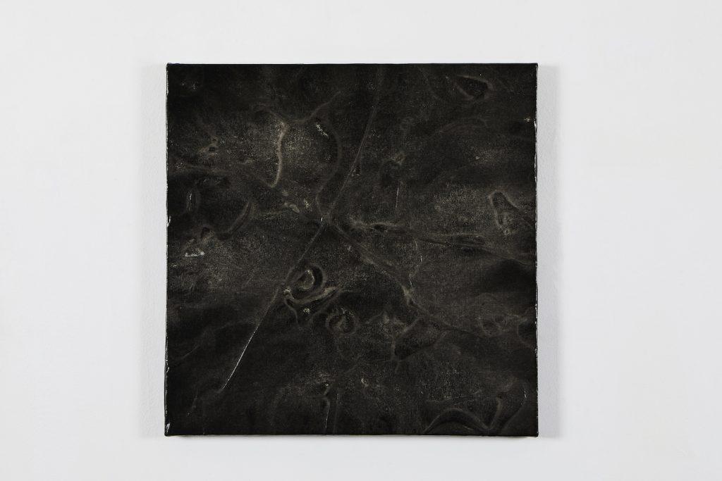 Acrylique papier de riz encre de Corée, crépi sur toile, 45.5 x 45.5 cm