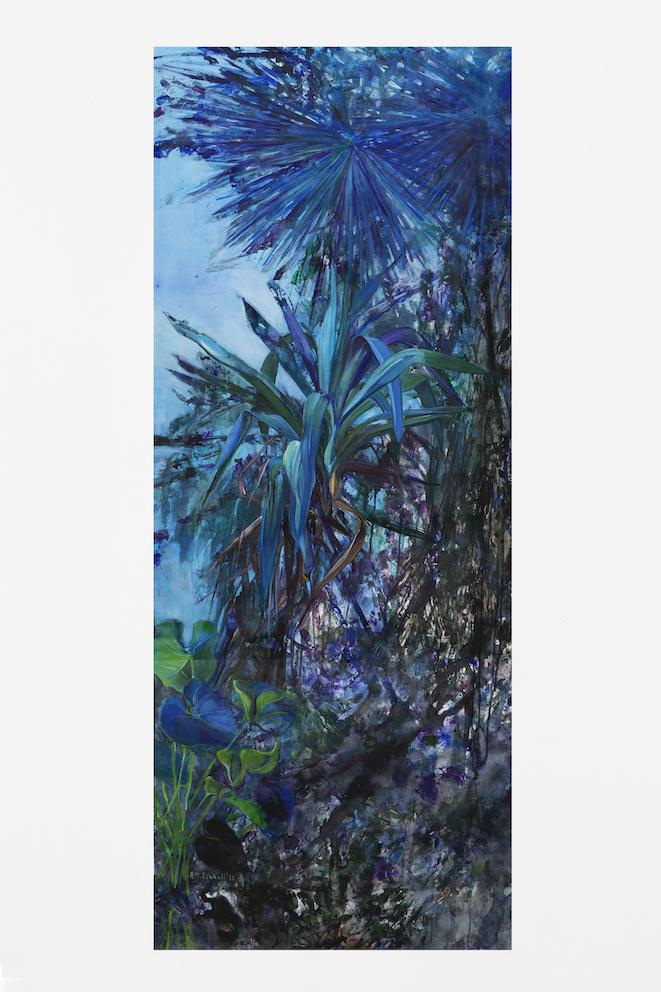 Nature sauvage, Huile sur toile et Tempera, 156 x 63 cm 2017
