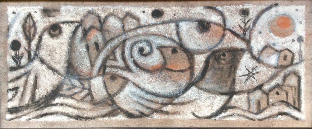 Au bord de la rivière, acrylique sur panneau, 32 x 76 cm