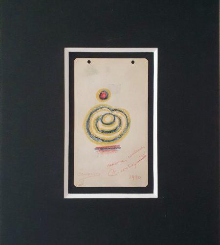 Cadences, couleurs contrepointées, pastel sur papier collé sur carton, 1920, 19,3 x 11,2 cm