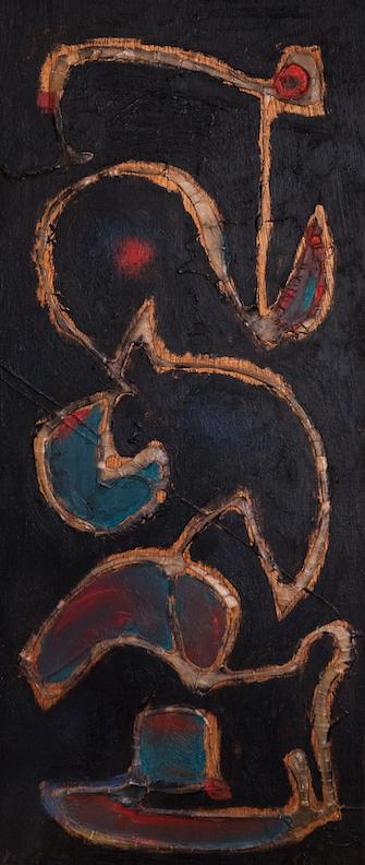Henri-Jean Closon, Contorsionniste, 1938, huile sur bois, 54 x 26,5 cm