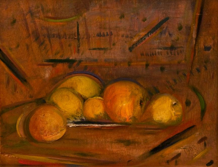 Henri-Jean Closon, Nature morte aux pommes, 1903, huile sur bois, 36,5 x 45,6 cm