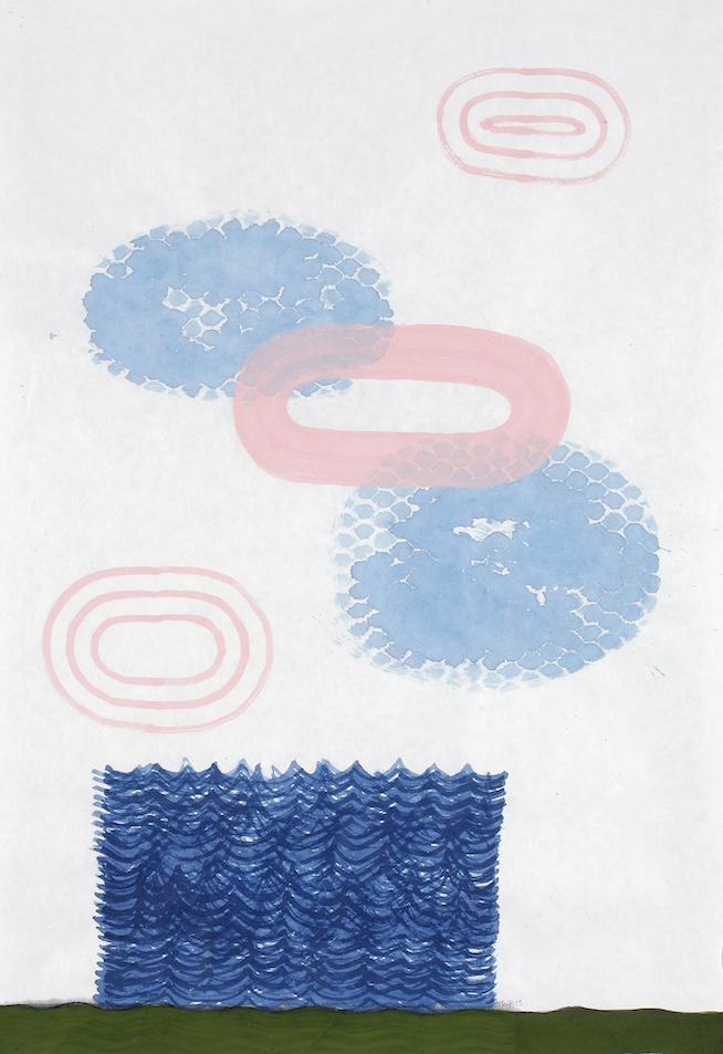 D.2015.001, gouache et aquarelle sur papier, 94 x 64 cm