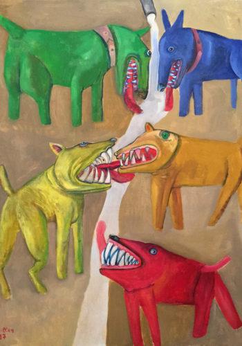 Edouard SACAILLAN-combat de chiens-99,5x80cm-acrylique sur toile-2015