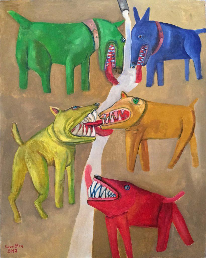 Combat de chiens, 2015, acrylique sur toile, 99.5 x 80 cm