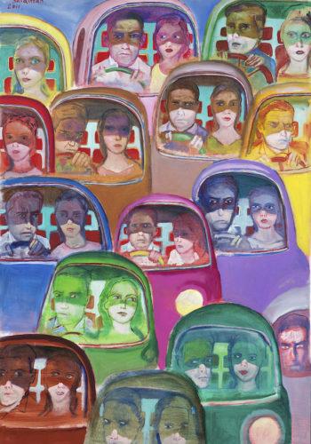 Edouard SACAILLAN-embouteillage-150x100cm-acrylique sur toile-2011