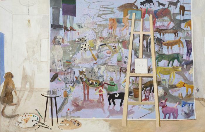 Edouard SACAILLAN-, es domestiqués, tempura et huile sur toile, 200x300cm, 1990-95