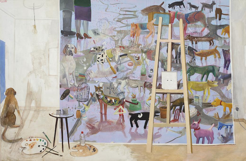 Edouard SACAILLAN, Les domestiqués, tempura et huile sur toile, 200x300cm, 1990-95
