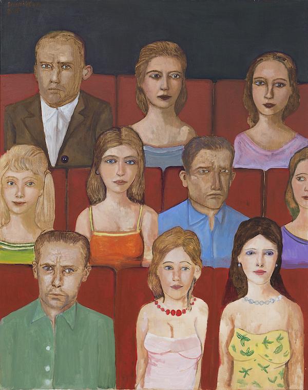 Face aux spectateurs, 2015, acrylique sur toile, 100 x 80 cm