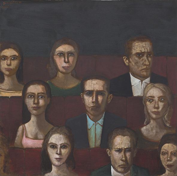 Les neuf personnages, 2015, acrylique sur toile, 80 x 80 cm