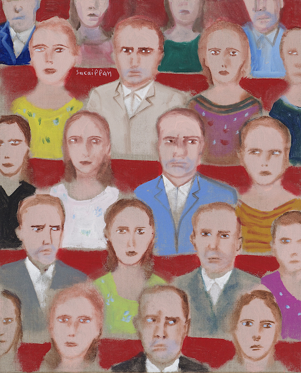 Spectateurs A, 2011, acrylique sur toile, 50 x 40 cm