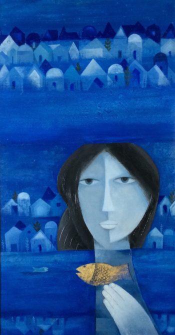 Et la lune était bleue, huile sur panneau, 80 x 40 cm, 2019