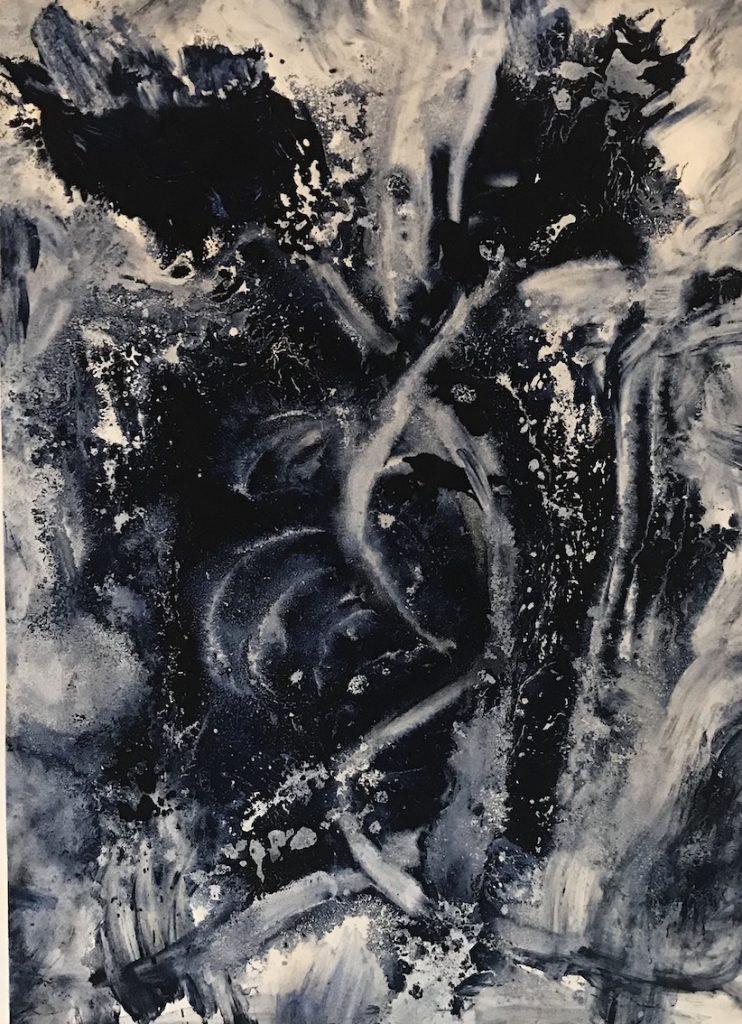 Flowers 101, Huile sur papier, 76 x 57 cm, 2017