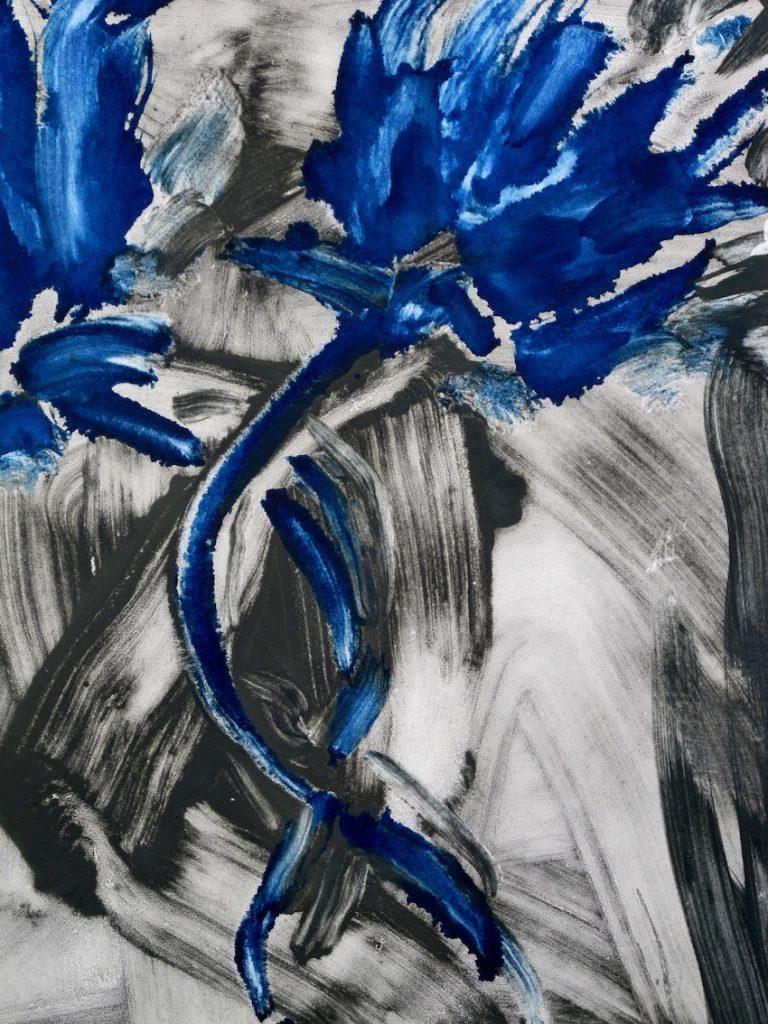 Flowers 72 (detail) Huile sur Papier, 90.5 x 66 cm, 2017