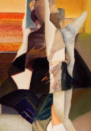 Geneviève Hugon - En Visite - 2010 - Huile sur toile - 47 x 27 cm