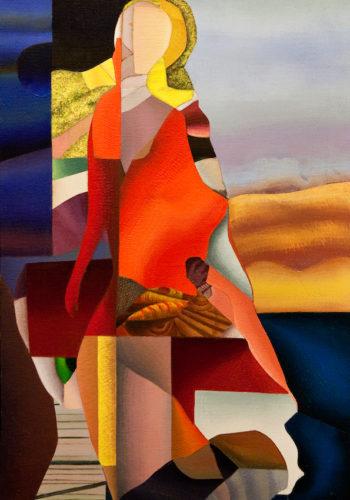 Geneviève Hugon - Sur le Sable - 1995 - Huile sur toile - 74x52 cm