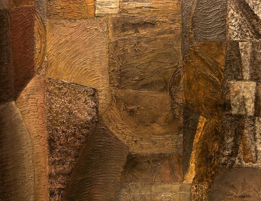 Le Soir en Essonne, 2001, huile sur toile, 81 x 81 cm