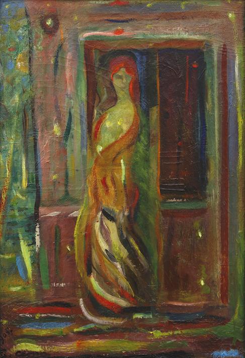 Henri-Jean Closon, Etude fille et maison close, 1905, huile sur toile, 55 x 38 cm