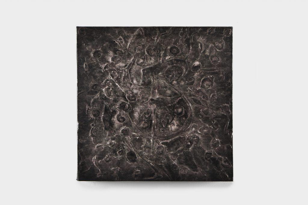 Acrylique, encre de Chine, papier de riz et crépi sur bois, 64 x 64 x 6,5 cm