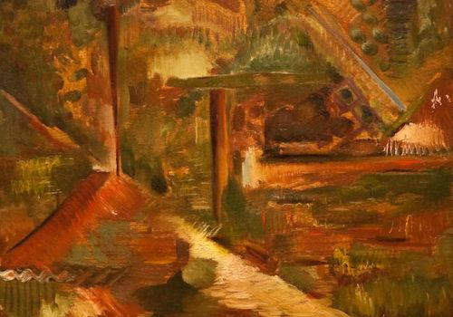 La maison de Rachel, huile sur bois, 61 x 50 cm
