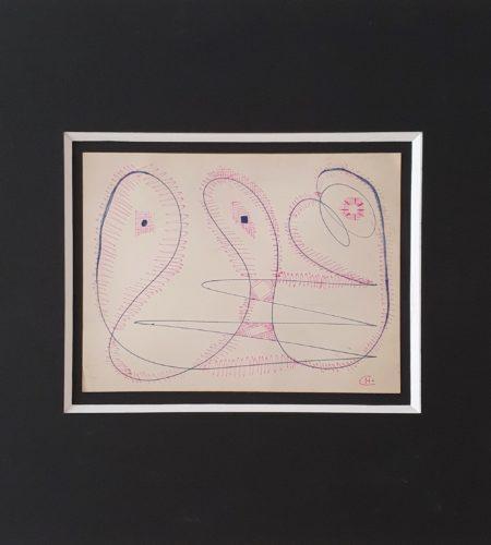 Le crime de la jalousie, stylo de couleur sur papier épais, 1950, 17,1 x 22,7 cm