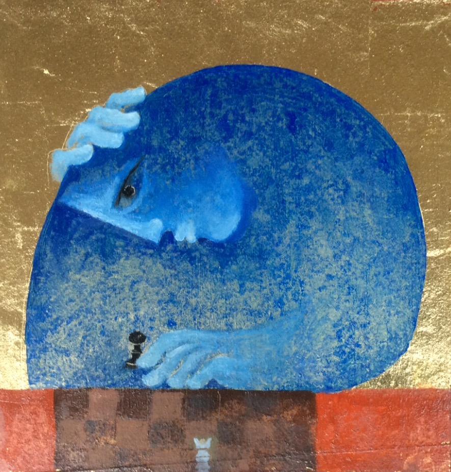 Le dernier pion, huile sur panneau. 40 x 40 cm