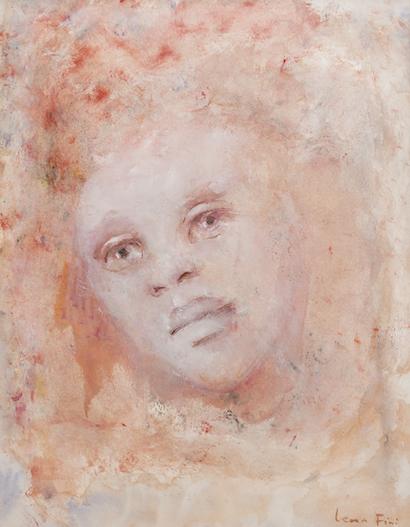 M221 Visage Rose, Portrait de Femme, Gouache et Aquarelle, 44 x 34,5cm copie