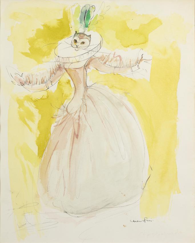 M226 Leonor Fini - Femme au masque de chat fond jaune - aquarelle et trait crayon - 37,5 x 30 cm