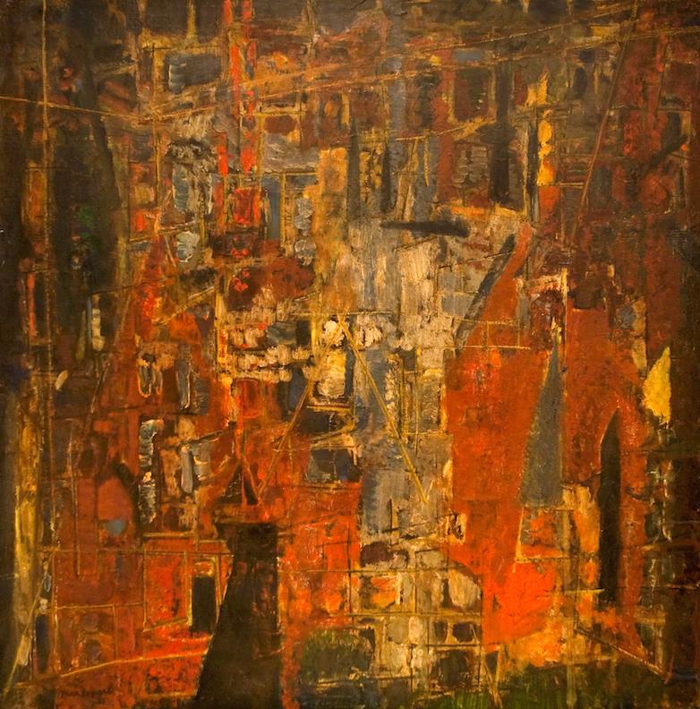 Dans la ville, huile sur toile, 100 x 100 cm