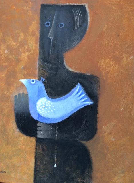 MON CHER OISEAU. acrylique sur toile,100 x 80 cm