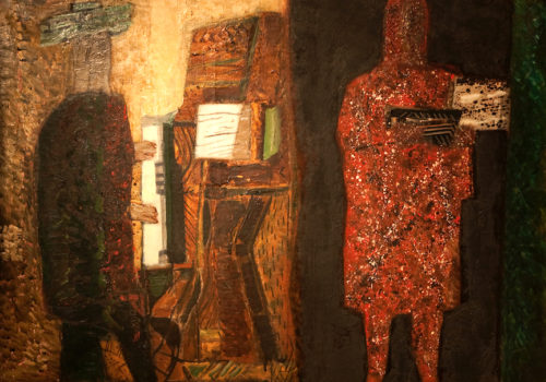 Max Papart - Piano vert et Brun - 1963 - Huile sur toile - 65 x 81 cm