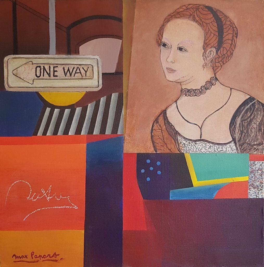 One way, huile sur toile, 80 x 80 cm
