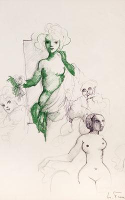 N°124 femme aux cheveux verts, encre de chine, plume et crayon de couleur sur papier, 24,5 x 16 cm