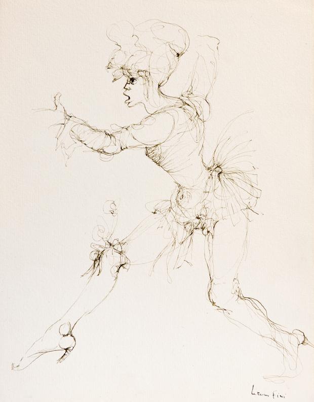 N°386, entre le oui et le non ( 1 personnage ),1993, encre de chine sur papier, 32 x 25cm