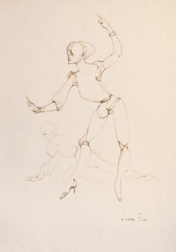 N°406 Deux personnages - Ferrara, 1978, encre de chine sur papier, 40x30cm