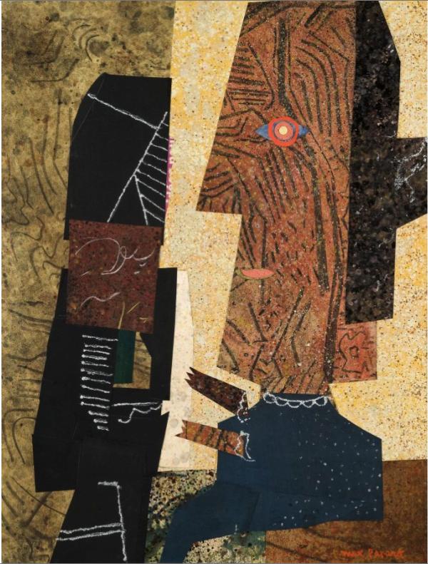 La complainte de Buffalo Bill, huile et collage sur panneau, 65 x 50 cm