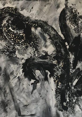RO - Flowers 109 - Huile sur papier - 2017 - 76 x 57 cm