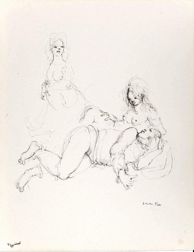 RO N°156 Les élus de la nuit,1986, encre de chine sur papier, 36,5 x 28,5cm
