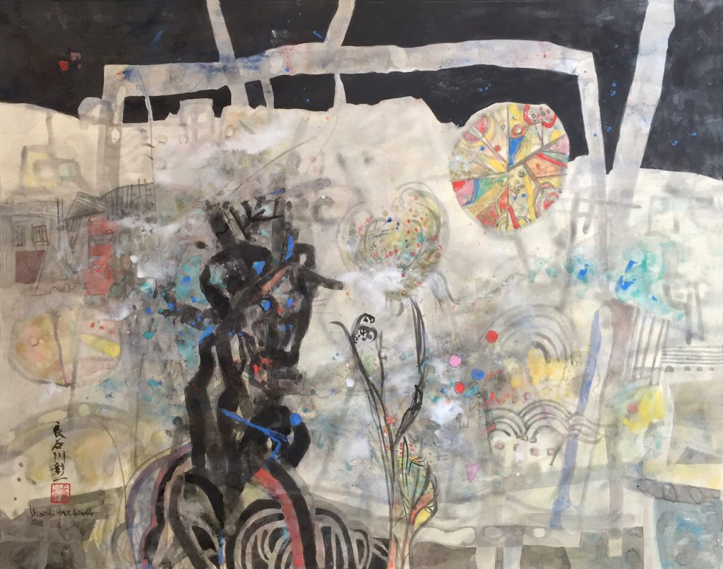 Tronc d'arbre et fleurs, huile sur toile, 73 x 92 cm