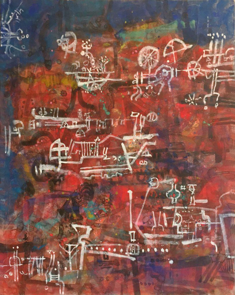 La fête, huile sur toile, 92 x 73 cm, 2013