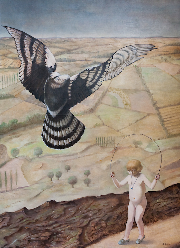 Stanislao Lepri, la leçon de vol, 1978, huile sur toile, 100 x 73 cm