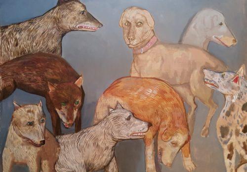 Sacaillan, réunion de chiens, 2017, 90 x 120 cm