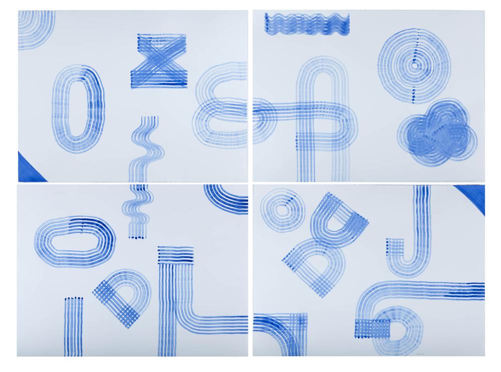 Sans titre (Prussian Blue), 2011, gouache sur papier, 56 x 76 cm