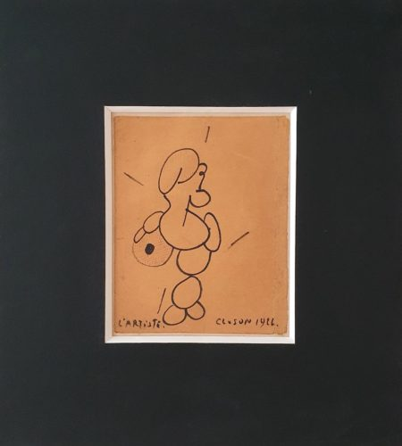 Y7 l'Artiste, feutre sur papier brun contrecollé sur carton, 1926, 19,5 x 15,5 cm