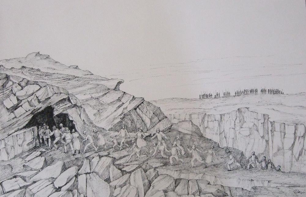 La Grotte, 1965, encre de chine et plume, 30 x 45 cm