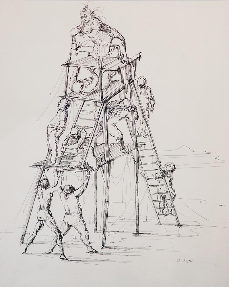 La Pyramide, 1959, encre de chine, 41 x 32 cm